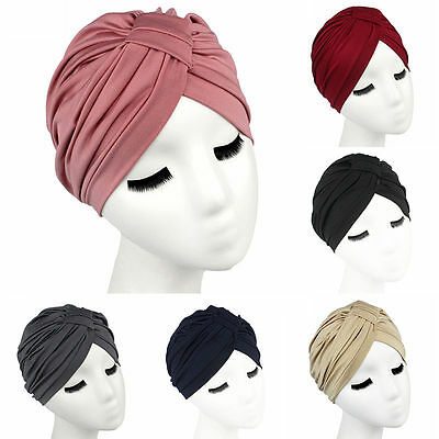 Women Indian Stretchable Chemo Pleated Turban Hat Headwrap Head Wrap Hijab Cap