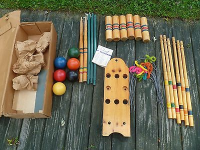 Antique vintage SPORTCRAFT croquet set 6 player complete w/ stand and box