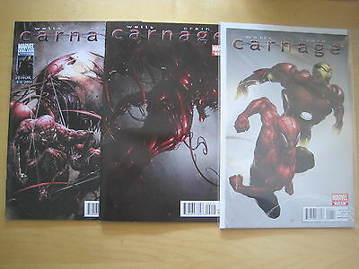 CARNAGE  # s 1, 2 & 4 ( of 5 ) by WELLS & CRAIN. SPIDERMAN. Marvel. 2011