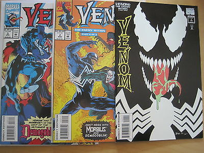 """VENOM : """"The ENEMY WITHIN"""" : COMPLETE 3 ISSUE SERIES. SPIDERMAN. MARVEL.1994"""