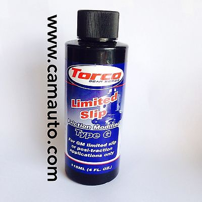 TORCO LIMITED SLIP DIFF TYPE G FOR GM ADDITIVE 4oz LSD FRICTION MODIFIER