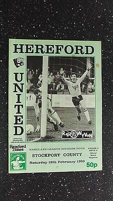 Hereford United V Stockport County 1988-89
