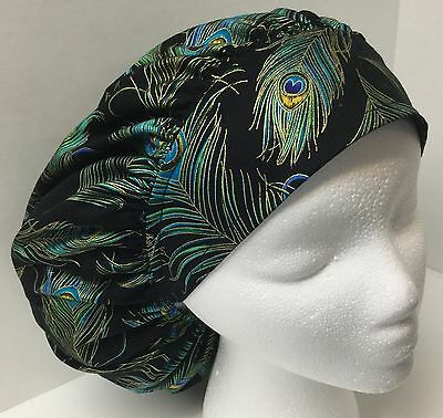 Peacock Feather Print size: Large Medical Bouffant OR Scrub Cap Surgery Hat