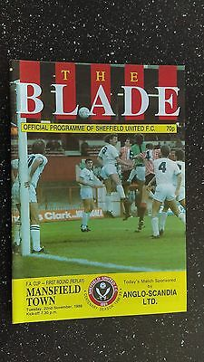 Sheffield United V Mansfield Town 1988-89