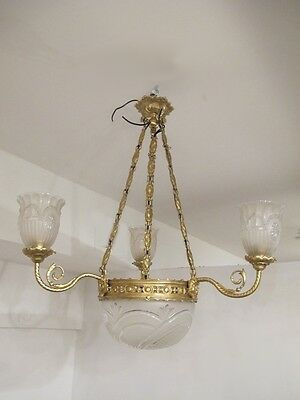 Antique French Gilt Bronze and Glass Chandelier - 10367