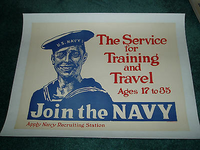 Rare Join The Navy By Flagg Ww1 Recruiting Poster Original