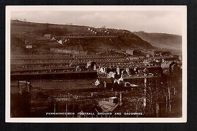 Penrhiwceiber Football Ground and Gasworks - real photographic postcard