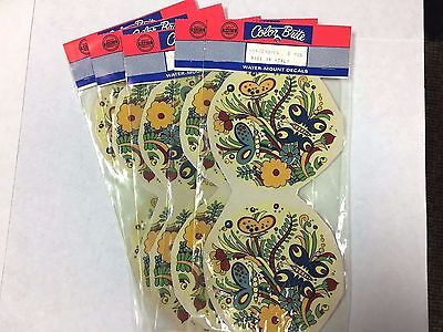 Ceramic decals round butterfly floral design lot of 14