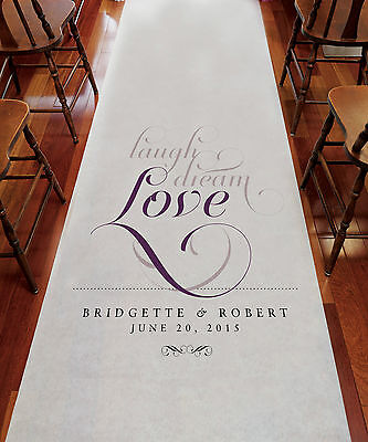 LAUGH DREAM LOVE Wedding Aisle Runner Church Decoration *Personalized*