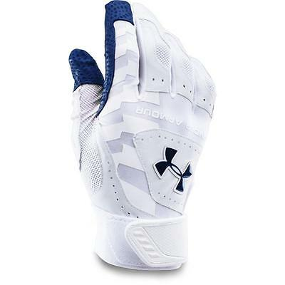 UNDER ARMOUR YARD BASEBALL BATTING GLOVES WHITE AND BLUE ADULT small
