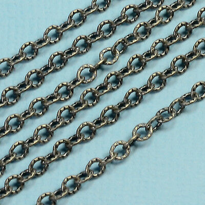 Oxidized Sterling Silver 2.6mmx3.2mm Twisted Cable Oval Bulk Chain By The Foot