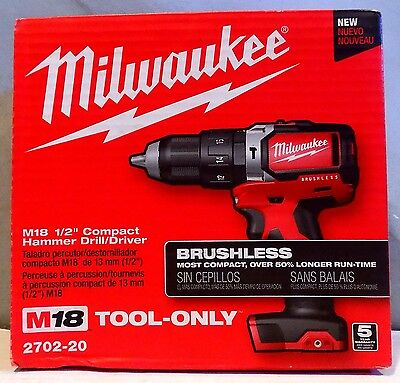 """Milwaukee 2702-20 M18  Brushless 1/2"""" Compact Hammer Drill/Driver - NEW"""