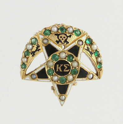 1909 Kappa Sigma Vintage Badge Pin - 14k Gold Emeralds Seed Pearls Fraternity