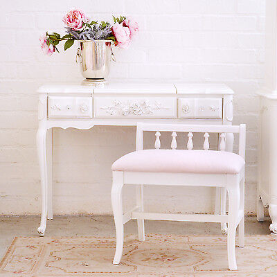 Shabby Cottage Chic Pink Linen Stool White Wood Chair French Style Vintage