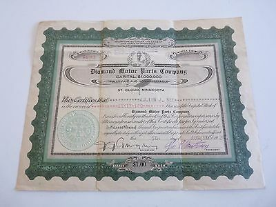 1926 Diamond Motor Parts Company 62 Shares of Stock Vintage Certificate