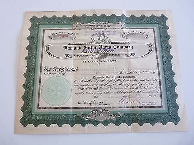 1926 Diamond Motor Parts Company 5 Shares of Stock Vintage Certificate