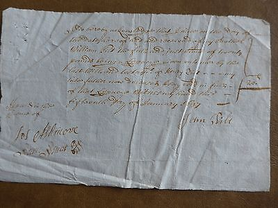Lot three English legacy receipts 1697 very good condition