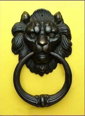 Lion Head Door Knocker Bell Old copper Home Garden Shed Cabin Outdoor Decor