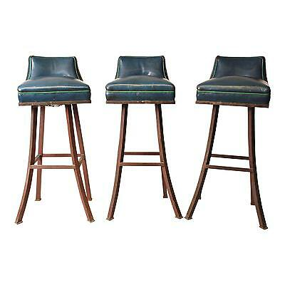 3 Vintage INDUSTRIAL BRASS BAR STOOL Set heavy chair factory swivel counter 40s