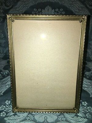 Vintage gold brass metal embossed edge scroll corner picture frame 5x7 MCM decor