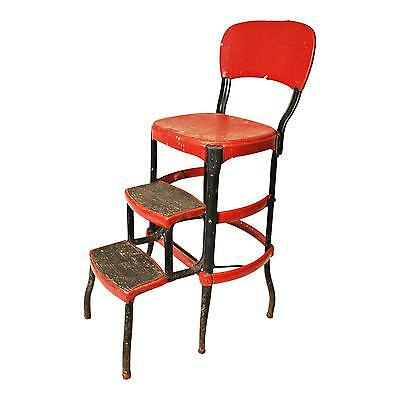 Vintage COSCO STEP STOOL chair red & black industrial metal folding mid century