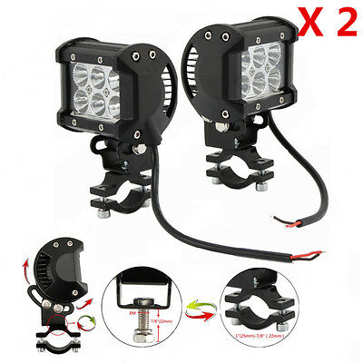 2X Adjustable Motorcycle CREE 18W LED Driving Spot Spotlight Lamp Light For BMW