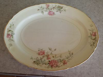 """Edwin Knowles Floral/Roses Oval Platter Semi-Vitreous #48-11 14""""X10"""""""