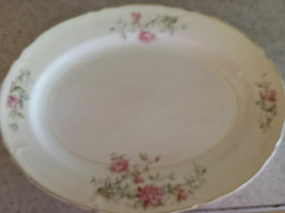 """Edwin Knowles Floral/Roses Oval Platter Semi-Vitreous #48-10 15.5""""X12"""""""