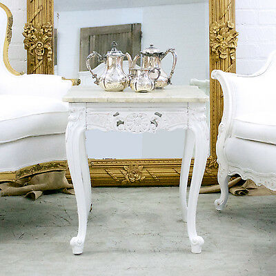 Shabby Cottage Chic Marble Side Table French Style Vintage End Table White