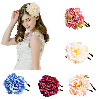Boho Ladies Big Peony Flower Headband Crown Garland Hairband Bridal Wedding Show
