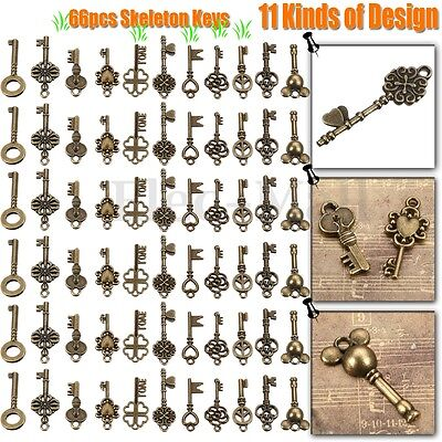 66Pcs Antique Vintage Old Look Bronze Skeleton Key Fancy Heart Bow Pendant Decor