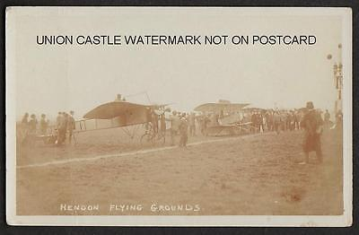 REAL PHOTO POSTCARD HENDON MIDDLESEX FLYING GROUNDS AVIATION AIRPLANES c1910