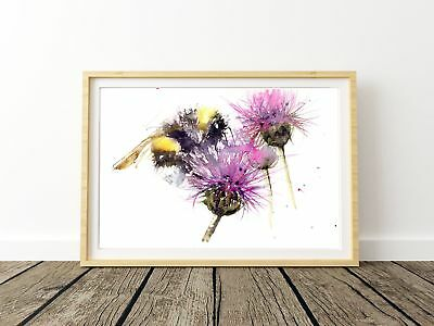 JEN BUCKLEY signed LIMITED EDITON PRINT of original BEE on a THISTLE watercolour