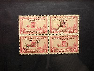 Orville Wright Signed Block Of 2 Cent 1928 Stamps - Authentication Certificate!!