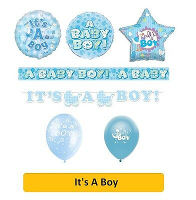 NEW BABY / IT'S A BOY Party Banners, Balloons, Decorations, Blue, Foil Balloons