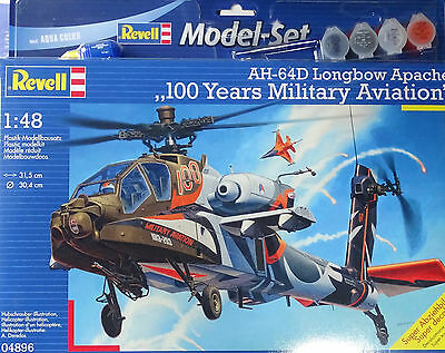 REVELL® 04896 AH-64D Longbow Apache Model-Set mit Farben, Kleber, Pinsel in 1:48