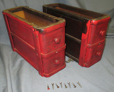 Painted Pair Antique 1924 Singer Treadle Sewing Machine Double Drawers Red Eye