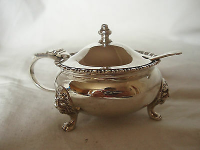 Asprey Mustard Pot & Spoon Sterling Silver London 1956