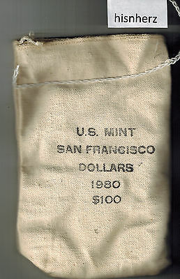 Unopened Bag $100.00 Face 1980-S Susan B Anthony Uncirculated Dollars-U.S. Mint