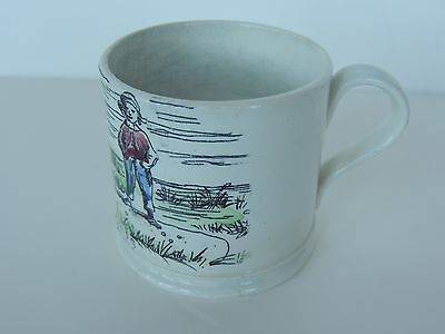 1840s  transferware child mug MARBLES game sport Motto ABC Pearlware clobbered