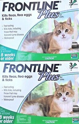6 Doses Genuine Frontline Plus For CATS 6 Month Supply Cat Flea & Tick Remedy