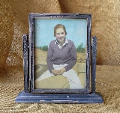 """VINTAGE ART DECO SWING PICTURE FRAME 6 x 8"""" PHOTO 1930s FLORAL SHABBY COTTAGE"""