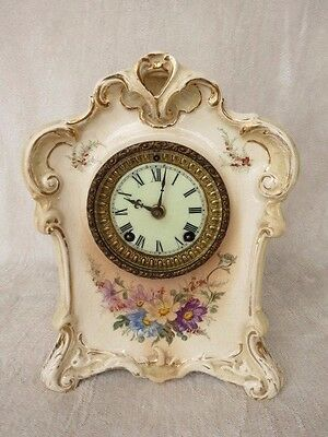 Antique Ansonia Twin Train Striking 8 Day Porcelain Mantel Clock For Tlc