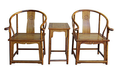Chinese Yellow Rosewood Horseshoes Armchair Set wk2654