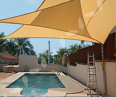 10' Sun Shade Sail Fabric Outdoor Garden Canopy Patio Pool Awning Cover Triangle