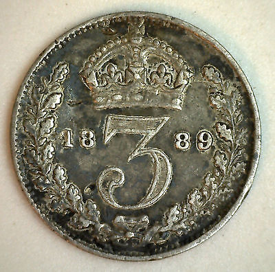 1889 Silver 3 Pence Great Britain UK English Coin XF