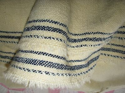 Homespun Fabric Antique Blanket Creme Indigo Stripe Edge Early 19Th C Scotland