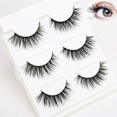 3 Pairs 3D Soft Make Up Natural Handmade Thick Long Cross False Fake Eyelashes