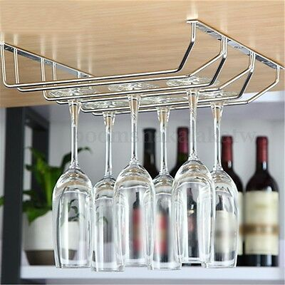 3 Rows Wine Glass Chrome Steel Rack Stemware Holder Shelf  Bar Cabinet Hanger