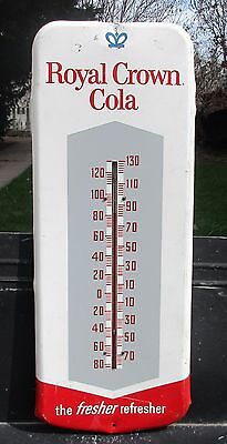 "Vntg Royal Crown Cola #45 'the fresher refresher' Wall Thermometer 25 3/4"" Tall"